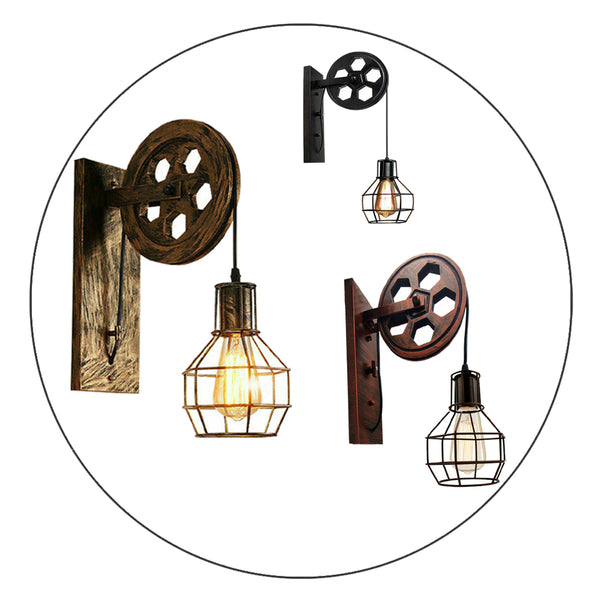Wall Lamp Retro Wheel Light Rustic Vintage Pipe Industrial Steampunk Lighting