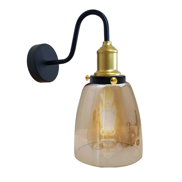 Glass Shade Retro Industrial Bathroom Wall Lamp Sconce