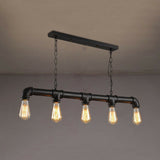 Waterpipe Ceiling Light 5 Light Chandelier Black