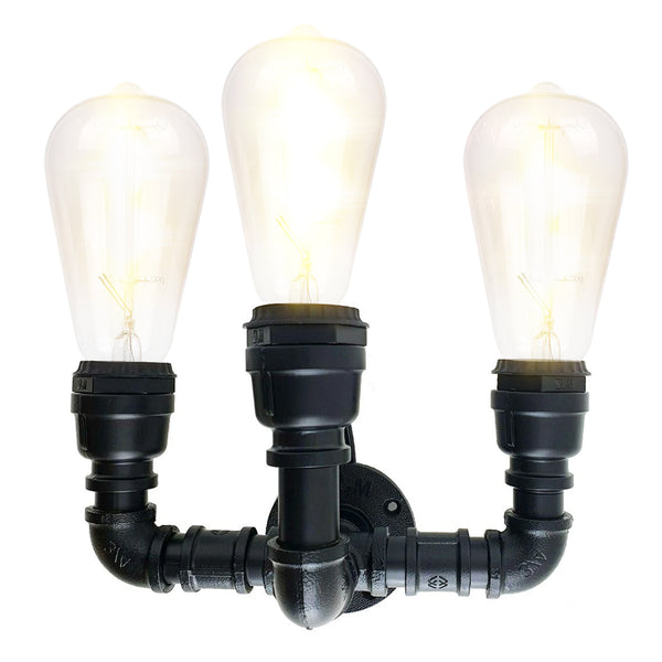 Black Water Pipe Wall Sconce Metal 3 Head Vintage Industrial Wall Light
