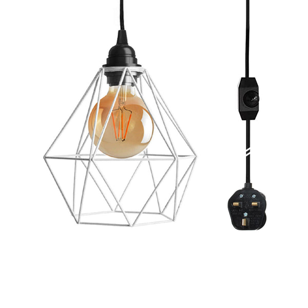 4m Black Dimmer Switch Plug In Pendant Lamp Light With White Cage