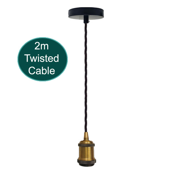 2m Black Twisted Cable E27 Base Pendant Yellow Brass Holder