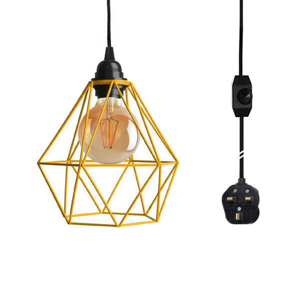 Dimmer Switch Plug In Pendant Lamp Light Set With Yellow Diamond Shade