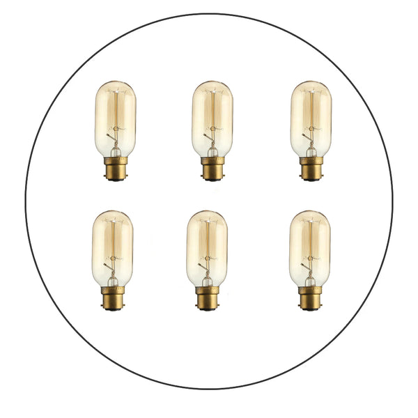 6 Pack B22 T45 60W Dimmable Filament  Incandescent Vintage Light Bulb
