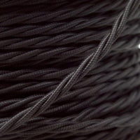 2 Core Twisted Electric Cable covered  Black colour 5m fabric 0.75mm