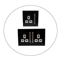 Decorative Black Glossy Main Plug Sockets Full Range Satin Gold Inserts UK