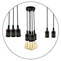 Modern E27 Cluster Ceiling Rose Pendant Light Fabric Flex Lamp Holder Fitting UK