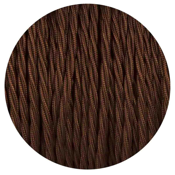 2 Core Twisted Electric Cable Dark Brown colour 5m fabric 0.75mm