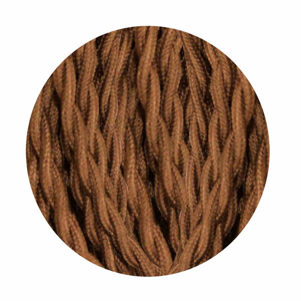 Twisted Brown Vintage Electric fabric Cable Flex 0.75mm -2 Core