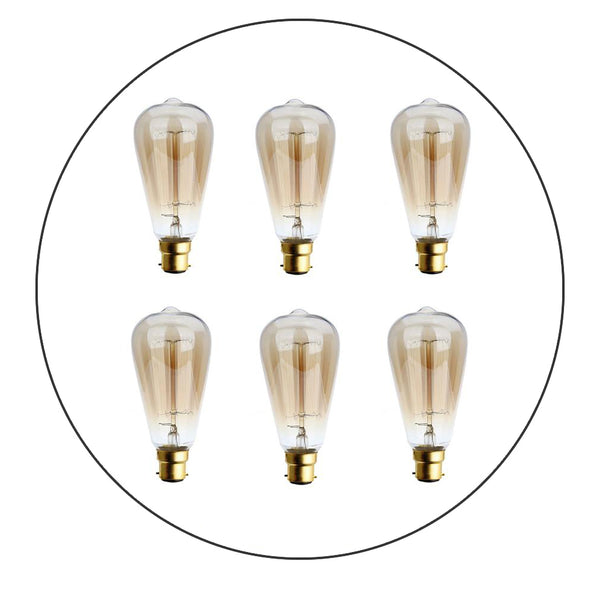 6 Pack Dimmable B22 60W Edison Vintage Filament Candle Pearl Shaped Light Lamp Bulb