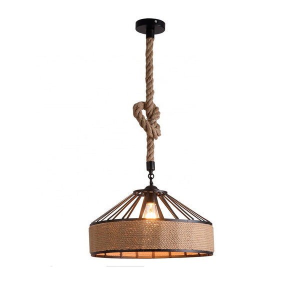 Vintage Retro Industrial Loft Hemp Rope Iron Pendant Ceiling Light Retro Lamp UK