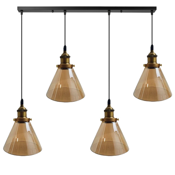 Industrial Retro Pendant Light Suspended Cluster Lights Style Glass Lamp Shade