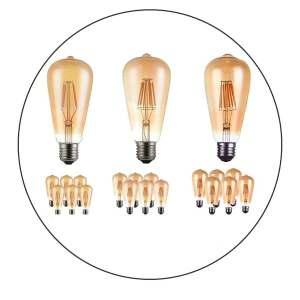 6 Pack Vintage E27 base Filament LED Edison Bulb Dimmable Decorative Industrial Light Bulbs