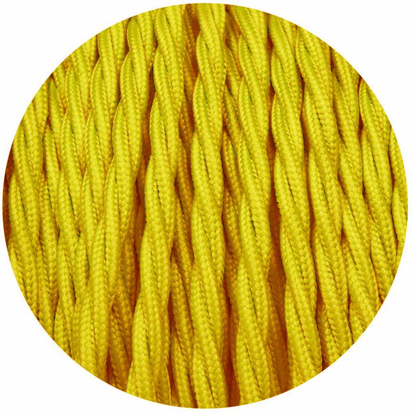 2 Core Twisted Electric Cable solid Yellow color fabric 0.75 mm
