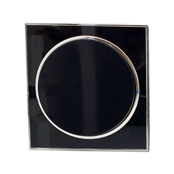 Screwless Flat plate Wall light switches Black Round 1 Gang