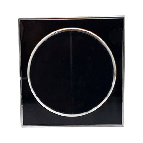Black Round 2 Gang Screwless Flat plate Wall light switches