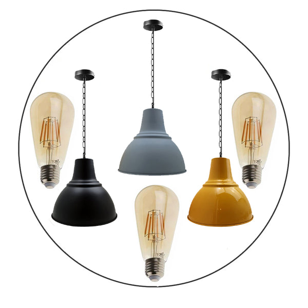 Modern Industrial Pendant Light Lamp Shade with FREE Bulbs Ceiling Light Lampshade LED Vintage