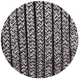 3 core Round Vintage Braided Fabric Black+White+Grey Multi Tweed Coloured Cable Flex 0.75mm - Shop for LED lights - Transformers - Lampshades - Holders | LEDSone UK