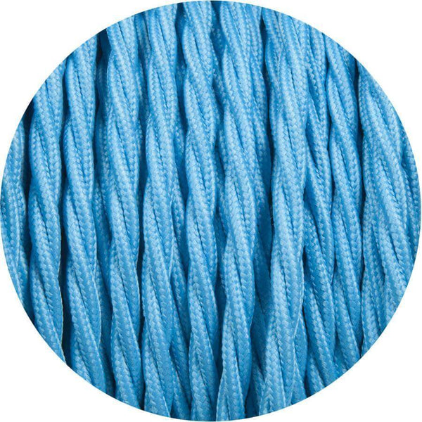 2 Core Twisted Electric Cable Light Blue colour 5m fabric 0.75mm