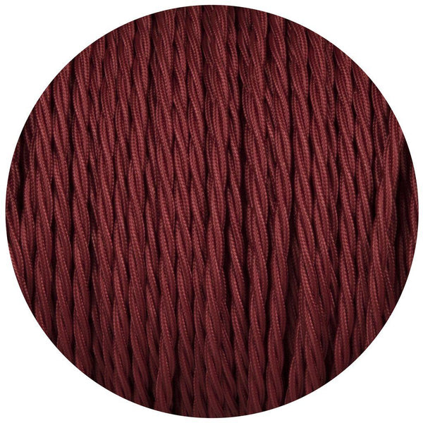 2 Core Twisted Electric Cable Burgandy colour 5m fabric 0.75mm
