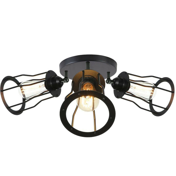 Ceiling Light 3 Shade Modern Industrial Vintage Cage Style Fitting Metal Flush Mount