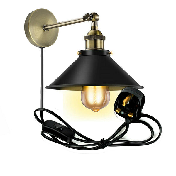 Vintage Retro Modern Plug In Wall Light Fitting Black Sconce Lamp shade fitting Shade Wall Light UK