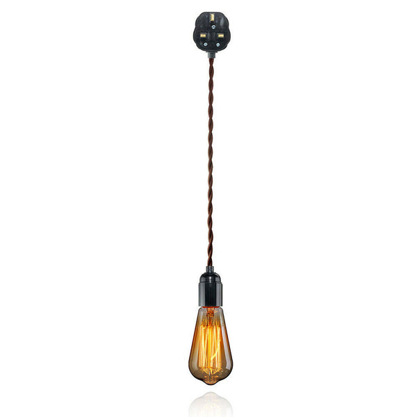 Plug In Pendant Lamp Light Set E27 Fitting 3A Brown Twisted