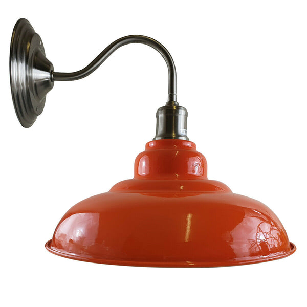 Orange colour Modern Industrial Indoor Wall Light Fitting Painted Metal Lounge Lamp