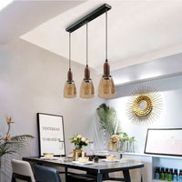 3 Head Retro Ceiling Light Glass Vintage Industrial E27 Base Holder Pendant Lamp UK