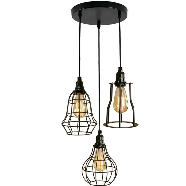 Modern Style 3 point pendant set ceiling light fixture bulb guard cage lights loft hanging set