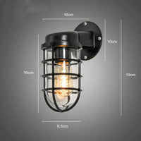 Pair of wall lights wall sconce black indoor Vintage retro antique industrial iron cage