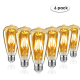 6 Pack Vintage E27 base Filament LED Edison Bulb Dimmable Decorative Industrial Light Bulbs - Shop for LED lights - Transformers - Lampshades - Holders | LEDSone UK