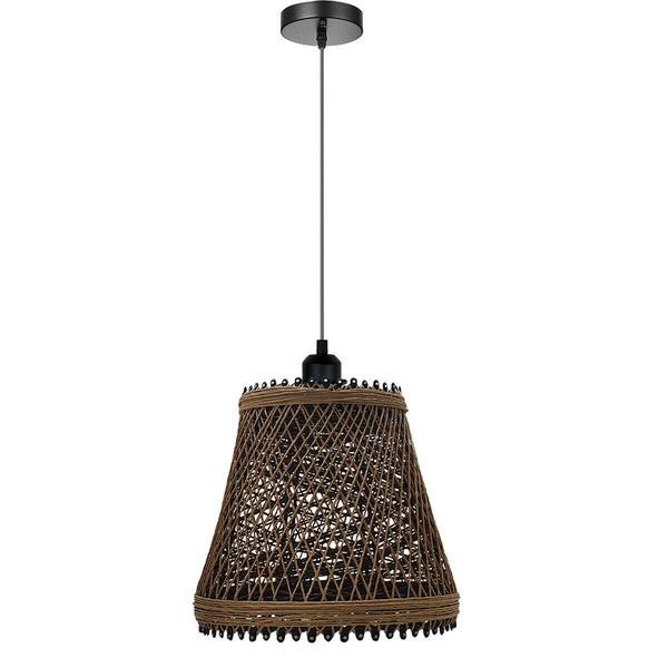 Rustic Woven Cage Pendant Light Industrial Metal Rope Pendant Lighting Fixture