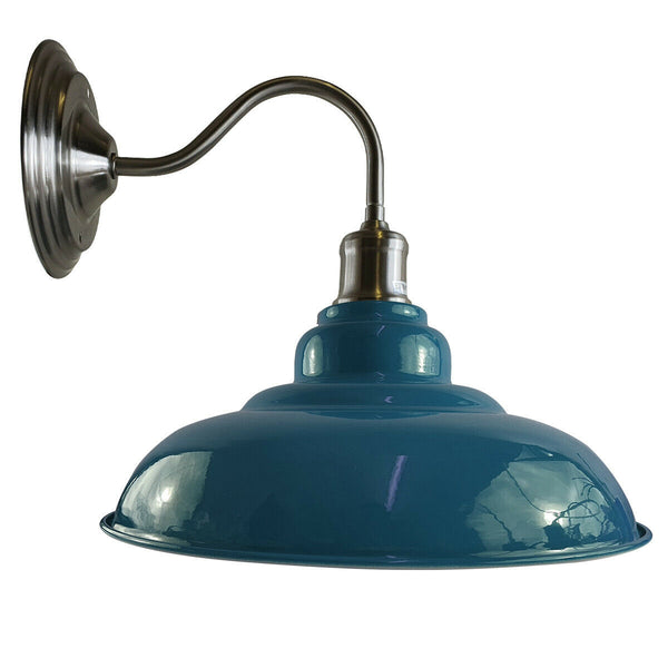 Blue colour Modern Industrial Indoor Wall Light Fitting Painted Metal Lounge Lamp