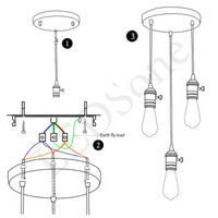 Vintage Ceiling Rose Pendant Braided Fabric Flex Lamp Holder Fitting 3 Light Kit