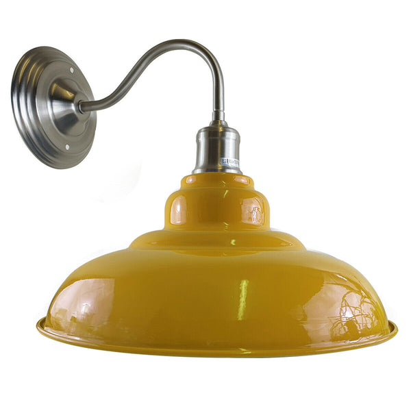 Yellow colour Modern Industrial Indoor Wall Light Fitting Painted Metal Lounge Lamp