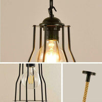 Vintgae E27 Industrial Pendant Retro Cage Edison Hemp Rope Ceiling Light Fixture