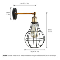 Vintage Industrial Wall Light with FREE Bulb Antique Retro Cage Adjastable Wall Sconce Lamp