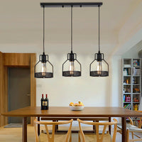 Modern rectangle Round 3 Way Ceiling Pendant Cluster Light Fitting Cage Style Light UK