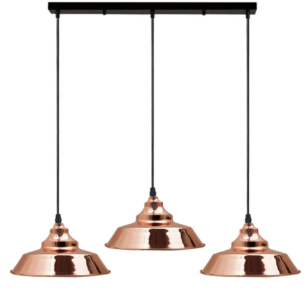 Rose Gold Three Outlet Ceiling Pendant Lights
