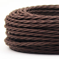 2 Core Twisted Electric Cable Dark Brown color fabric 0.75mm - Shop for LED lights - Transformers - Lampshades - Holders | LEDSone UK