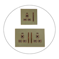 Decorative Gold Glossy Main Plug Sockets Full Range Satin Gold Inserts UK