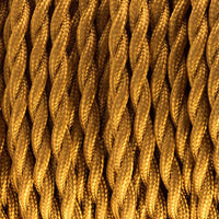 2 Core twisted gold vintage fabric cable flex