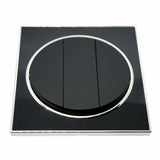 Black Round Screwless Flat plate Wall light 3 Gang switches