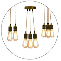 Ceiling Rose Industrial Pendant Light Fabric Flex 3Core Hanging Lamp Holder Kit