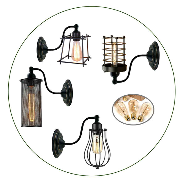 Industrial Wall Mounted Lights Black Sconce Wire Cage Lamps set