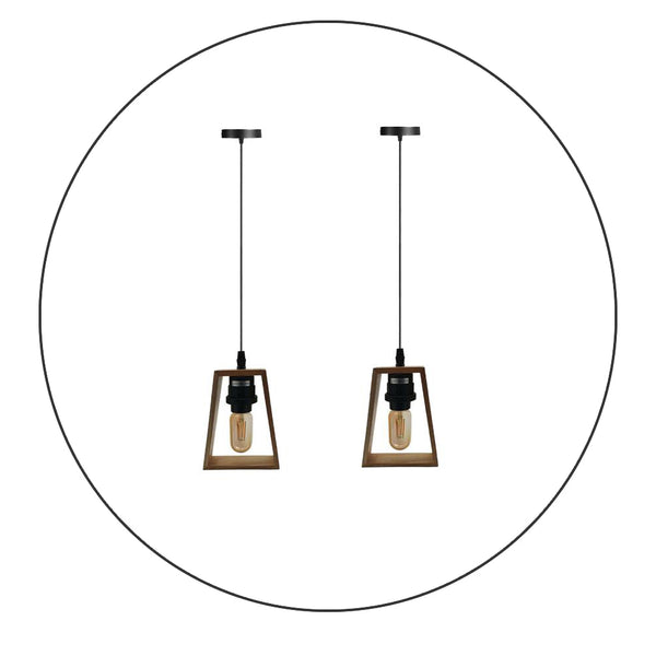 2 Pack Modern Ceiling Pendant Light Fitting Wood Style Pendant Light Kit - Shop for LED lights - Transformers - Lampshades - Holders | LEDSone UK