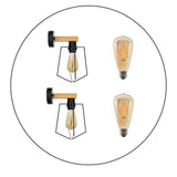 2Pack E27 Modern Industrial Retro Wall Lights with FREE Bulbs Fittings Indoor Sconce Wood Metal Lamp - Shop for LED lights - Transformers - Lampshades - Holders | LEDSone UK
