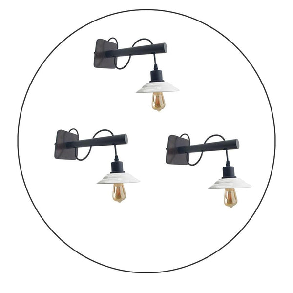 Modern Industrial Antique Brass Black Scone Wall Light Shade with FREE Bulbs