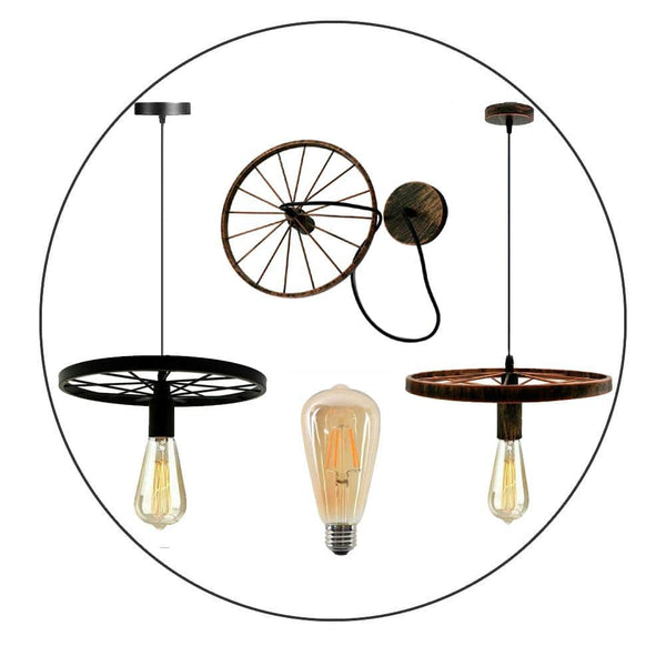 Modern Industrial Retro Pendant Lamp Ceiling Light Wheel Light for Bedroom cafe